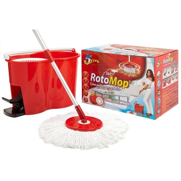 Rotomop Secchio Lavapavimenti Professionale + Mop Mocio + Manico