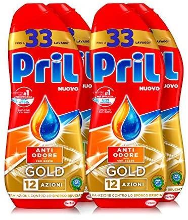 Pril Gold Gel lavastoviglie Anti Odore, Detersivo lavastoviglie